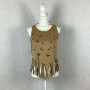 Sz M French Pastry Suede Butterfly Fringed Top